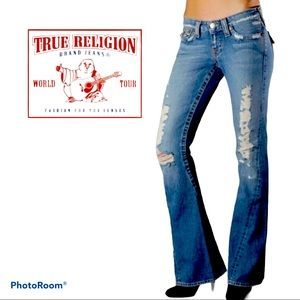 True religion Joey twisted flare distressed Jeans